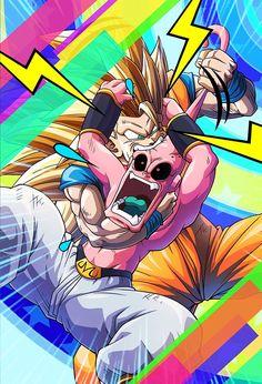 Goku Vs Kid Buu, Buu Dbz, Dragon Ball Z, Majin Boo Kid, Nouveau Manga, Super Mario Art, Arte Horror, Animes Wallpapers, Illustration