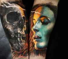 Skull and face tattoos by Michael Taguet