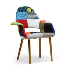 Baxton Studio Forza Patchwork Mid-Century Accent Chair - DC-594V-PATCH