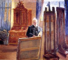 Anna Ancher - Michael Ancher Painting in His Studio