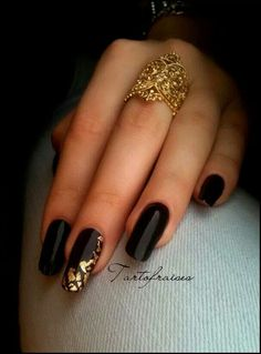 Nails black polish with gold accent