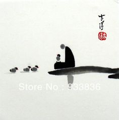 "Chinese small  zen painting  ""original brush ink Asian Chan watercolor art"" #watercolorarts"