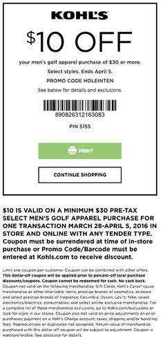d45eb2ae6 Kohl's Coupon: $10 Off Men's Golf Apparel Purchase Of $30+ Printable  Coupons, Printables