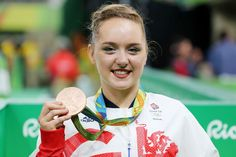 Great Britain's Amy Tinkler celebrates a bronze medal in the Women's Floor