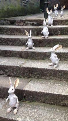 In a Perfect World.(says another Bunny lover. Animal Sculptures, Sculpture Art, Rabbit Sculpture, Nature Landscape, Rabbit Art, Bunny Art, Ceramic Animals, Ceramic Art, Funny Bunnies
