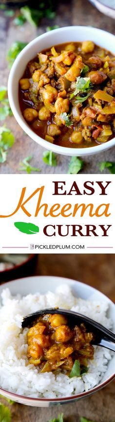 Easy Kheema Curry Recipe (ground beef in tomato, ginger and curry sauce). Savory and delicious over rice! http://www.pickledplum.com/ground-beef-curry-recipe/