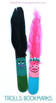 Princess Poppy and Branch Popsicle stick bookmarks inspired by characters from the movie Trolls. Kid's arts and crafts