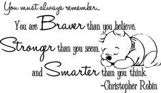 Braver and stronger Christopher Robin quote via www.Facebook.com/DisneylandForMisfits