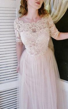 Short Sleeve Lace-Bodice Tulle Dress With Scalloped Bateau Neck and Pleated…
