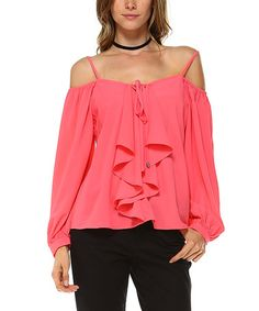 Loving this Coral Ruffle Long-Sleeve Off-Shoulder Swing Top on #zulily! #zulilyfinds