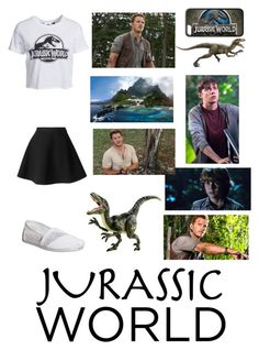 """""""Jurassic World....(I freaking loved this movie, and P.S. my love for Nick Robinson is real, I've loved him and his acting since The Kings of Summer!!!;)"""" by jessicacalumhood1253 ❤ liked on Polyvore featuring New Look, MSGM, TOMS, Dinosaurs, women's clothing, women, female, woman, misses and juniors"""