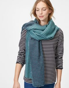 Checkley Bright Teal Jacquard Scarf , Size One Size | Joules UK