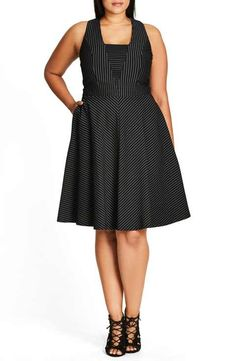 City Chic Office Fun Pinstripe Fit & Flare Dress (Plus Size)