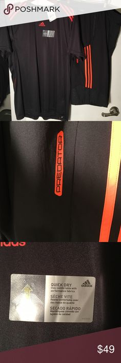 Adidas extra large training shirt and pant Adidas extra large black with orange stripes training top and three-quarter predator training pant new with tag Adidas Shirts Tees - Short Sleeve
