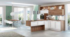 NENA - Contrastrijke keuken, wit met donker hout. Front in kader dikte 19mm, samengesteld uit 5 panelen, dikkant in melamine op 4 kanten | Meubelen Crack