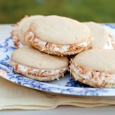 Coconut Cake Whoopie Pies w/ Coconut Cream Cheese Filling  ~ perfect for an Easter Treat ~  could even tint w/food coloring