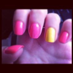 pink + yellow nails-Just did this one, but added glitter to the yellow