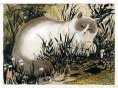 Cat watercolor painting - adorable animal artwork illustration originale - Le Monde selon Raoul - by Frédéric Saurel