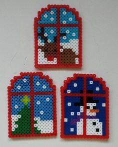 Perler Hama bead Christmas / Holiday / Winter windows by Joanne Schiavoni Melty Bead Patterns, Pearler Bead Patterns, Perler Patterns, Beading Patterns, Mosaic Patterns, Painting Patterns, Embroidery Patterns, Loom Patterns, Jewelry Patterns