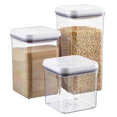 Modular Good Grips® POP Canisters by OXO® are designed to stack securely to create a completely customized and space-efficient solution for food storage