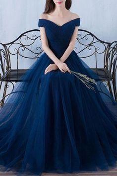 Dark blue tulle organza off-shoulder A-line long prom dresses,evening dress for graduation