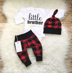 Little Brother Outfit Coming Home Baby Boy Outfit  Baby Boy Outfit Newborn Boy Clothes Baby Boy Leggings Hat Baby Shower Gift  Plaid Outfit by LLPreciousCreations on Etsy https://www.etsy.com/listing/526886783/little-brother-outfit-coming-home-baby