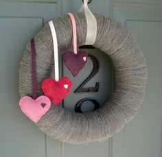 Yarn Wreath Felt Handmade Door Decoration Falling by ItzFitz