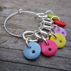 Button Stitch Markers cute and colourful by WychwoodDreams on Etsy