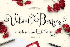 Velvetberries Script by Emily Spadoni Introducing Velvetberries! A modern spin on classic hand-lettered calligraphy. Warm inviting characters you'll use through all seasons, weddings, showers, logos, holidays and more! Valentine Day Cards, Valentines, Font Creator, Web Design, Print Design, Game Design, Design Ideas, Graphic Design, Cursive Fonts