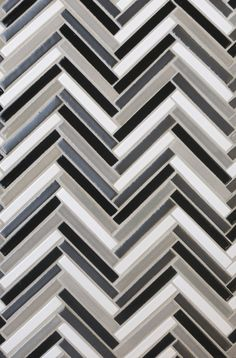 Mercury Mosaics | Stix - 613 Black, 815W Light Grey, 1024 Antique Pewter, 11 Deco White