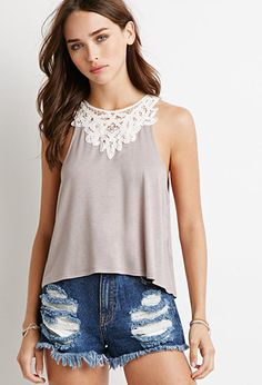 Crochet-Paneled Top | Forever 21 - 2002247892