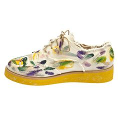 Anouki Canvas Hand Painted Brogues With Yellow Sole (€345) ❤ liked on Polyvore featuring shoes, oxfords, flats, beige, beige shoes, canvas flats, flat shoes, yellow flats and glitter oxfords
