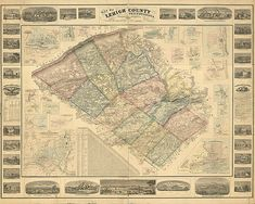 Map of Lehigh County, Pennsylvania, PA 1862. Restoration Hardware Home Deco Style Old Wall Vintage Giclee Reproduction.