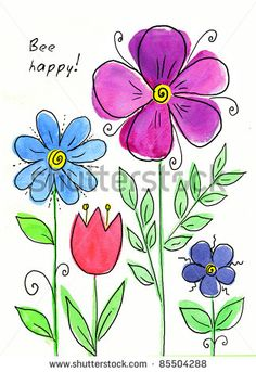 Find Watercolor Hand Drawn Stick Flowers stock images in HD and millions of other royalty-free stock photos, illustrations and vectors in the Shutterstock collection. Doodle Drawings, Doodle Art, Doodle Frames, Art Floral, Painting Patterns, Fabric Painting, Watercolor Cards, Watercolor Flowers, Art Carte