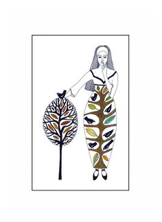 "10"" x 8"" Art Illustration Print Ink Watercolour Drawing Woman Tree Birds Mythological Folk Art Brown Neutral Green Leaves Nature  Autumn on Etsy, $18.00"