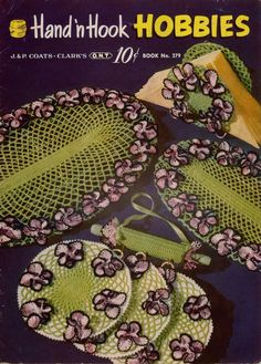 HAND 'n HOOK HOBBIES, Coats and Clark Book No 279, published in 1951 by The Spool Cotton Company. Includes 18 crochet patterns. PATTERNS INCLUDED: Pansy Set - Large Platter Mat, Small Mat, Rolling Pin Hanger, and Napkin Holder, Boudoir Pillow and Pincushion Set, Flower Basket, Cowgirl Doll ~ Skirt, Jacket, Hat, Pants, Boots, Pillow Case Edging and Insertion Sets ~ 3 designs, Handkerchief Edgings ~ 4 designs, Beaded Doily, Washcloth Laundry Bag, Hanky Apron, Whisk Broom Cover, Fish Soap…
