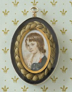 portrait miniature, with braided hair border