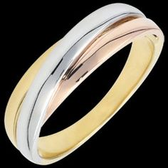 Wedding Ring Diamond Saturn - all gold - three golds - 9 carat, A trifoly of rings in 3 golds entwined and brought together for a wedding ring in motion and finesse. A wedding ring for men and women white gold and yellow gold Gold = g. Diamond Wedding Rings, Diamond Rings, Gold Rings, Engagement Rings Couple, Couple Rings, Diy Necklace, Fashion Necklace, Trinity Ring, Jewelry Insurance