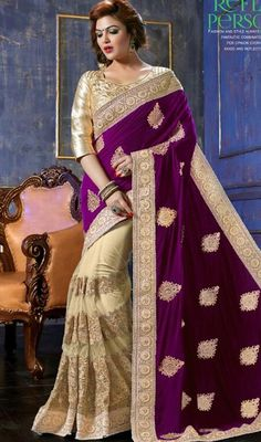 It's time for you to hypnotize and instill awe in everyone as you drape this beige and violet color net velvet half n half sari. The butta, lace, patch, resham and silver zardosi work appears to be chic and excellent for any celebration. Upon request we can make round front/back neck and short 6 inches sleeves regular saree blouse also. #AwesomeFushiaMagentaButtaWorkSari