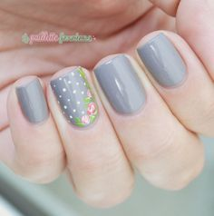 """Manucurist gris n°3 - collection automne """"what Paris is"""" - gray nails with romantic roses"""