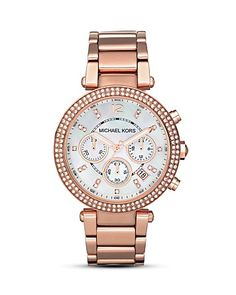 Michael Kors Women's Mother of Pearl Embellished Watch, 39mm | Bloomingdale's