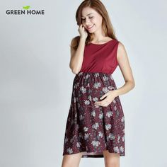 Green Home Summer Floral Maternity Dress Sleeveless Pregnancy Dress for Pregnant Women Daily Wearing