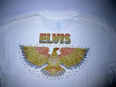 Elvis Presley T-Shirt Gold Eagle White Medim 10%Cotton Official EPE Item