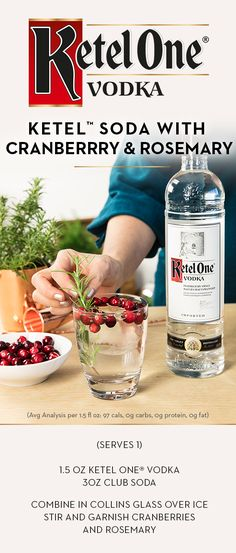No sugar, made with 100% non-GMO grain, and fits perfectly in a stocking. This holiday season, mix up a Ketel™ Soda with Cranberry and Rosemary by adding 1.5 oz Ketel One® Vodka in a Collins or rocks glass over ice. Top with 3 oz club soda, garnish with cranberries and rosemary, and enjoy the smooth flavor of Ketel One® Vodka.
