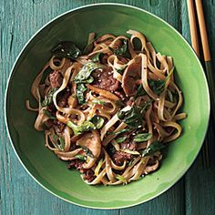 Stir-Fried Rice Noodles with Beef and Spinach | MyRecipes.com