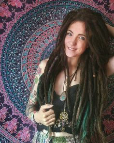 """Dreads """"What you feel, you radiate. What you radiate, you attract."""" IG @lisbeth.mueller - #dreads #dreadstyle #locs  Handmade macramee by talented @chakranayar.arts"""