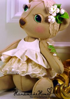 Collectible #Art #toy Marusya #teddy #bear #Handmade #interior one of a kind doll - See more at: http://www.handmadehome.me/shop/kukly#sthash.9wlWC9Fj.dpuf