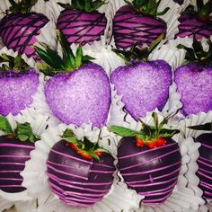 3 shades of purple! Chocolate covered strawberries.