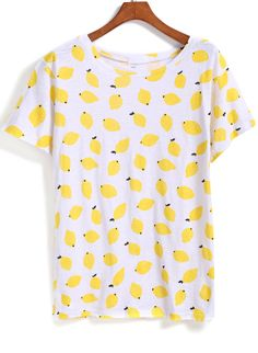 Yellow Short Sleeve Lemon Print T-Shirt 11.15