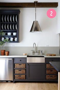 open storage & basket storage // farmhouse sink // bridge faucet // oversized pendant